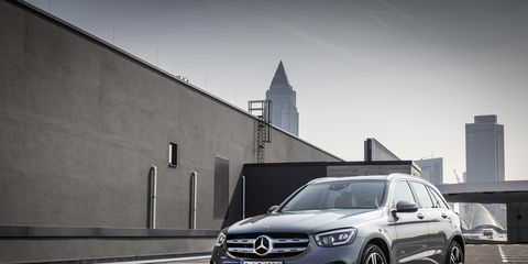 """With new front styling, the easiest way to tell the difference between the 2020 GLC-Class SUV and the previous model years is the updated headlights, with """"torch design"""" daytime running lights. The louvers on the grille are revised,lower section features more chrome."""