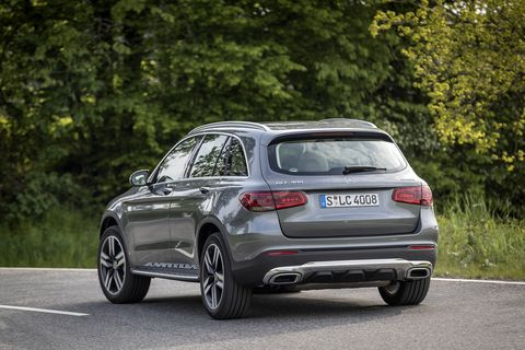 The other big change, shown here on a 2020 GLC300 4Matic, is the new rear bumper. Like the front styling, there's more chrome. A trained eye will also notice different exhaust tips and new LED tail lights.