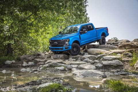 Suspension lift, skidplates, and 35-inch tires give the Tremor off-Road package equipped trucks a real lift in off-road capability. Get it? lift?