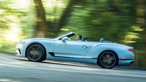"2019 Bentley Continental GTC convertible in ""jetstream"" blue."