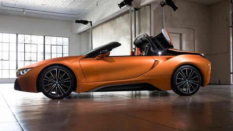 The 2019 BMW i8 Roadster delivers 369 hp when all motors and the engine are working together.