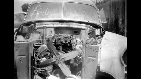 A 1949 Detroit car photographed with a 1950 Ann Arbor camera. This '49 Olds, complete with historically significant overhead-valve V8 engine, will feature in a future Junkyard Treasure post.