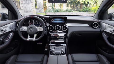 The 2020 Mercedes-AMG GLC 43's interior shouldn't be a big surprise: it carries over the styling and materials from the rest of the GLC lineup. All that means: it's good.
