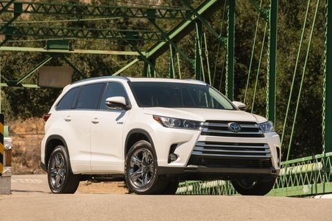 """The Toyota Highlander Hybrid is the mpg champ when it comes to three-row SUVs that only fill up at the gas station, with EPA ratings of 29/30/28 mpg (combined/city/highway) on the&nbsp;base&nbsp;LE model. Fancier trim levels come with a 1-mpg penalty across the board, a small price to pay for luxury. The Highlander is also roomy, with a generous 14 cubic feet of storage space behind the third row. A new 2020 Highlander <a href=""""https://autoweek.com/article/new-york-auto-show/2020-toyota-highlander-shows-polished-redesign-new-york"""">is on the way</a>, and the hybrid model should have the same or better numbers as the 2019 model year."""