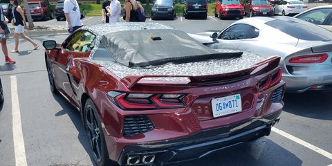 A 2020 C8 Chevy Corvette appeared in the parking lot at the Concours d'Elegance of America.