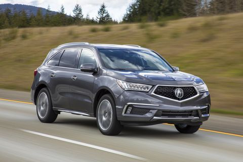 """The Acura MDX, like the Volvo XC90 T8, shows that performance and fuel economy can live together. It uses a gasoline V6 paired to an electric motor in the front with two electric motors for the rear wheels (like the <a href=""""https://autoweek.com/article/supercars/2019-acura-nsx-first-drive-north-north-loop-nurburgring-japan"""">Acura NSX supercar</a>, but backward). The MDX Sport Hybrid manages 27 combined mpg (26 city, 26 highway), and 321 total horsepower.&nbsp;"""