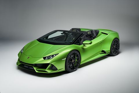 The 2020 Lamborghini Huracan Evo Spyder  looks just as good standing still under perfect lighting