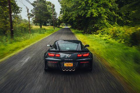 Land vehicle, Vehicle, Car, Automotive design, Performance car, Sports car, Corvette stingray, Supercar, Tree, Road trip,