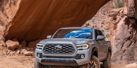 2020 Toyota Tacoma 4x4 with TRDOff Road package on Moab's Hell's Revenge trail