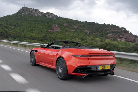 The best part of the 2019 Aston Martin DBS Superleggera Volante in motion is the sonorous noise from the 5.2-liter, twin-turbocharged V12