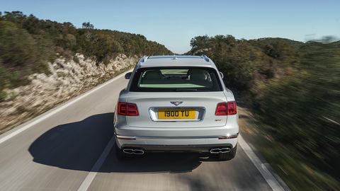The Bentley Bentayga Hybrid delivers a total of <span><span><span><span>443 hp and 516 lb-ft.</span></span></span></span>