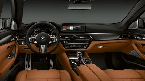 The 2019 BMW M5 gets special logos inside and out.