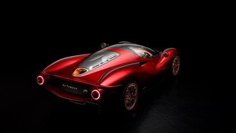 Land vehicle, Car, Vehicle, Red, Sports car, Automotive design, Classic car, Race car, Concept car, Coupé,