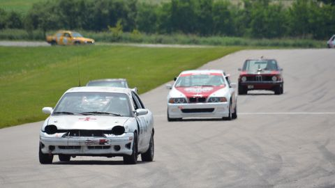 Some on-track action at the Gingerman Raceway Lemons race.