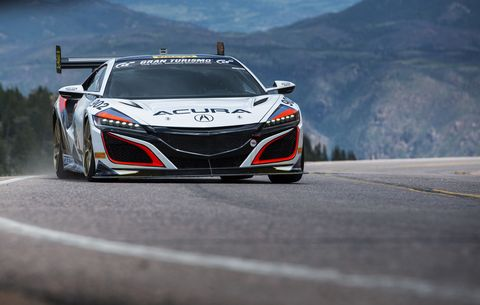 Engineers at Honda racing up the mountain. Steve Olona driving a modified RDX, Jordan Guitar, a modified hybrid MDX, Nick Robinson in a production NSX and borther James in a modified NSX