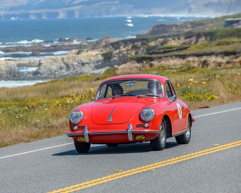 The day before the Hillsborough Concours d'Elegance in the San Francisco Bay Area enclave of Hillsborough, they have the Hillsborough Tour d'Elegance, in which many of the cars that'll be in the show Sunday drive all over the best roads south of the SF Bay.