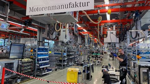 The new portion of the AMG factory in Affalterbach builds only the M139. The pictures with the orange beams are what the older factory floors look like.