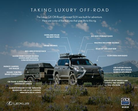 The GXOR concept was made with input from Lexus off-road enthusiasts, from the CBI Custom Stealth Bumper with hidden Warn winch to the Patriot Campers X1H trailer.