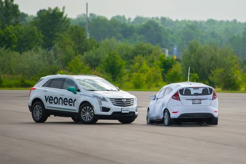 Veoneer arranged a test course with various obstacles to showcase its technology, the way it works and the smoothness of operation.