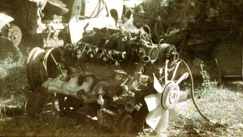 Junkyard in Green Bay, Wisconsin, photographed with 1950 Argus FA film camera and 25-year-old Ektachrome film.
