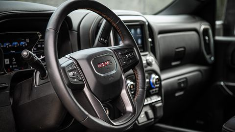 """The 2020 GMC Sierra HD AT4 has <span><span>an all-wheel drive mode called """"Auto 4WD"""" to complement the traditional, 2WD, 4WD High and 4WD Low modes.</span></span>"""