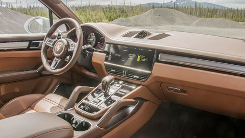 The 2020 Porsche Cayenne Turbo S E-Hybrid throws the options book at the interior of the Cayenne, but the Acid Green highlights on the outside can be swapped out for no cost.