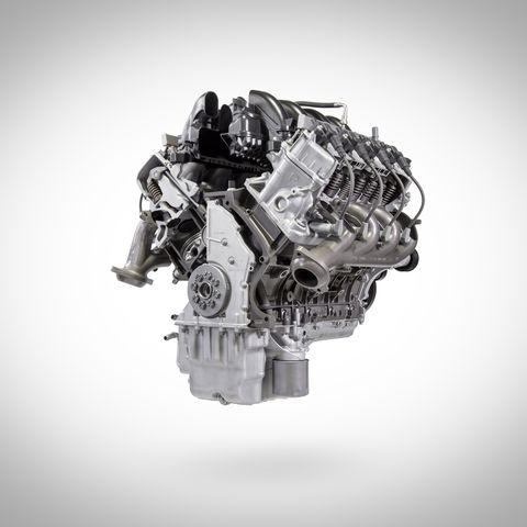 7.3-liters of displacement, 430 hp, 475 lb-ft of torque, Forged steel crankshaft