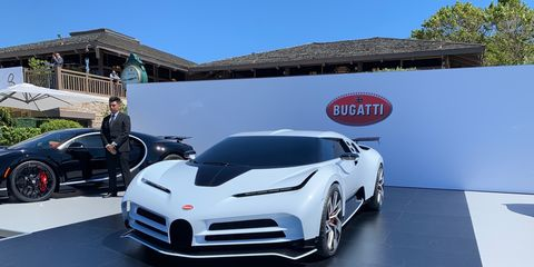 See the Bugatti CentoDieci, a tribute to the EB110based on the Chiron, displayed at The Quail in 2019