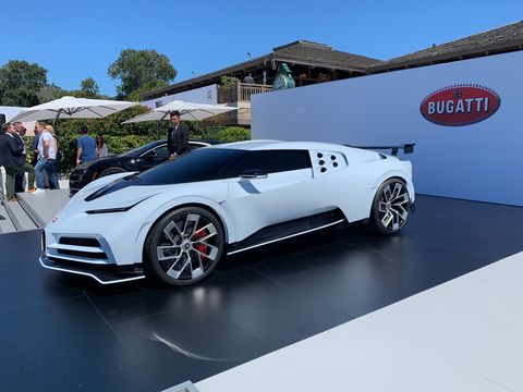 See the Bugatti CentoDieci, a tribute to the EB110 based on the Chiron, displayed at The Quail in 2019