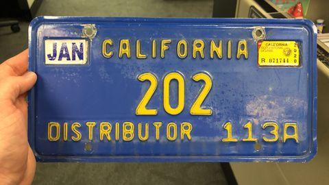 1982 California license plates still used by Mitsubishi in California.