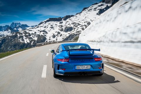 The GT3 version of the 911 built on the 991 chassis came as a 2014 model year and used a dual-clutch transmission instead of a manual. That helped lap times, but not necessarily driver engagement. Power increased to 469 and max engine speed to 9,000 rpm. The use opf the PDK did drastically improve 0-60 mph sprints, now just 3.3 seconds.