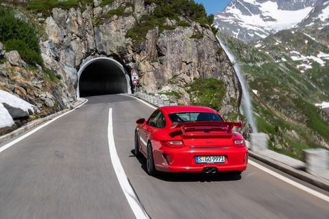The 2010 model year Porsche 911 GT3 saw the first engine size increase in the series, now 3.8-liters and peak output followed suit to 429 horsepower. The bigger motor also revved up to 8,500 rpm. You also saw center-locking wheels and a front-axle-lift system