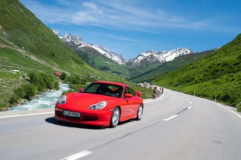 The first Porsche 911 GT3 was sold in Europe only. It was dropped 1.2-inches compared to a standard 911 and included a 355 horsepower 3.6-liter flat-six engine.