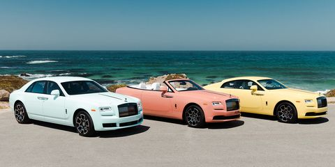 Three pastel-colored Rolls-Royce cars, part of the Black Badge lineup, debuted during Monterey car week