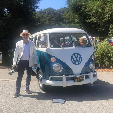Volkswagen buses were in abundance at The Quail this year, part of the craft's 70th anniversary. Here our friend Dr. Fets laments ever having sold his '67. I lament the loss of my '64. There was much lamenting.