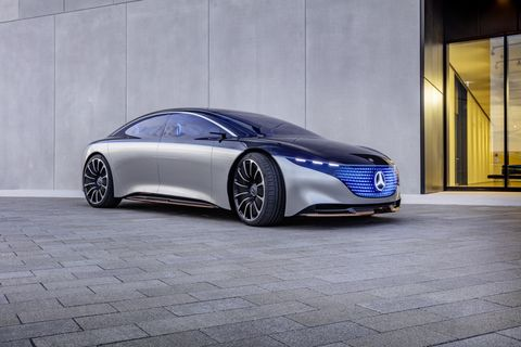 Here is the Mercedes-Benz Vision EQS. It was revealed at the 2019 Frankfurt Auto Show