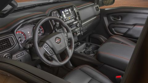 The 2020 Nissan Titan interior gets an optional nine-inch touchscreen and standard Apple CarPlay and Android Auto.
