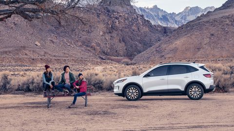 The 2020 Ford Escape offers a choice of two gasoline engines: the 1.5-liter I3 delivers 180 hp, the 2.0-liter I4 lays down 230 hp. Both are turbocharged.