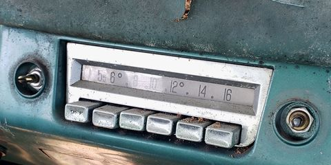 1956 DeSoto Fireflite radio with CONELRAD frequencies marked.