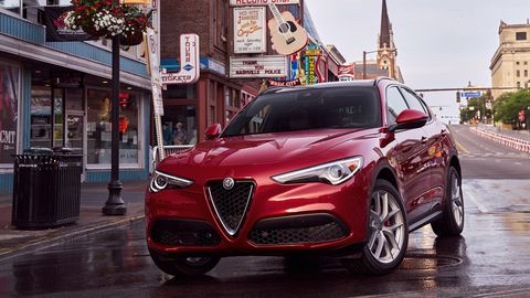 The 2019 Alfa Romeo Stelvio Ti Sport comes with a 280-hp turbocharged four.