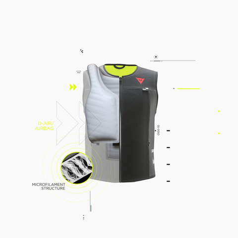 Cutaway shows the D-Air Smart Jacket on the inside.