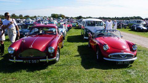 Highs and lows of British car design: Aston Martin DB3, Daimler SP250.