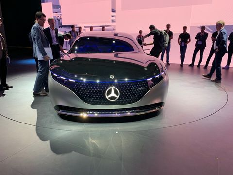 The Mercedes-Benz Vision EQS on the show floor at the 2019 Frankfurt Auto Show