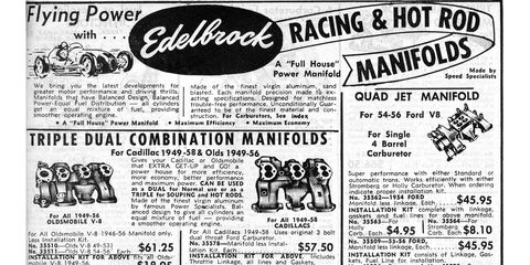 In 1959, you could buy a multi-carburetor intake manifold for just about any American-made engine from Warshawsky & Company (which became J.C. Whitney soon after).