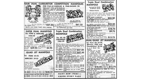 The intake-manifold selection from the 1959 Warshawsky & Company catalog.