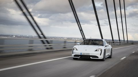 The 2020 Porsche Taycan <span><span>Turbo has 616 hp with up to 671 of overboost power while using launch control. Maximum torque when using launch control is 630 lb-ft. </span></span>
