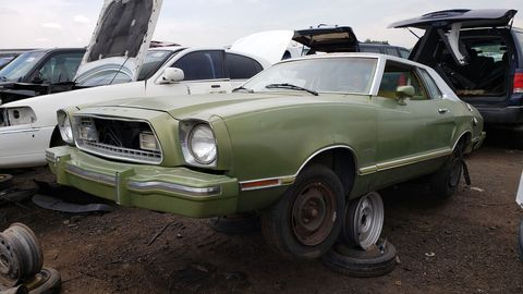 The first year of the Pinto-based Mustang II, complete with extra-cost Green Glow paint.