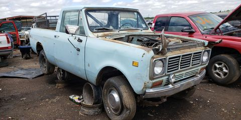 The pickup version of the rugged Scout II, found in a Denver auto graveyard.