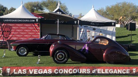 Connor and Kevin Cogan's 1950 Ferrari 250 Europa Vignalewon Best in Show postwar, while Jack and Helen Nethercutt's1931 Bugatti Type 51 won Best in Show prewar.