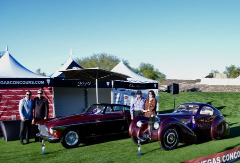 Connor and Kevin Cogan with 1950 Ferrari 250 Europa Vignalewon Best in Show postwar, while Jack and Helen Nethercuttwon Best in Show prewar with their 1931 Bugatti Type 51.